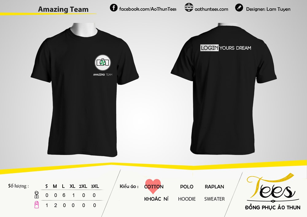 Mẫu áo thun màu đen của nhóm AMAZING TEAM với khẩu hiệu Login Your Dream