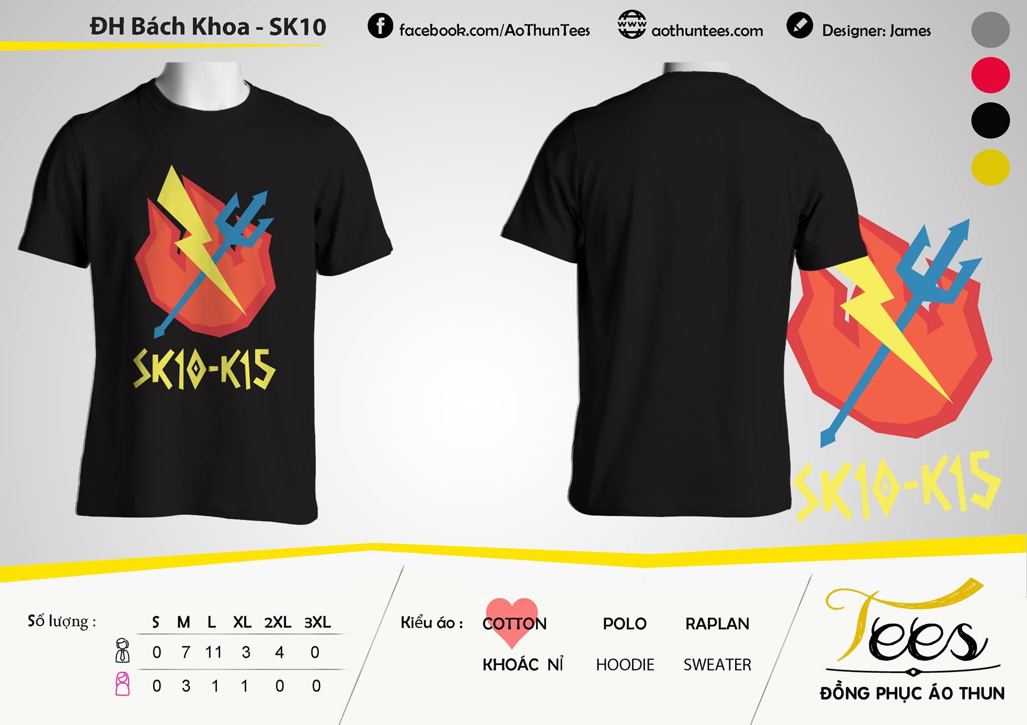 Mẫu áo thun màu đen của lớp SK10 K15 trường Đại Học Bách Khoa