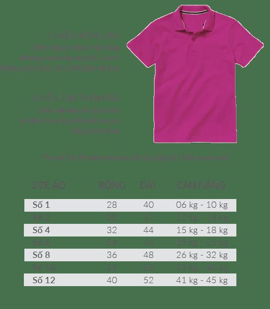 polo connit - Bảng size áo thun cá sấu / Polo