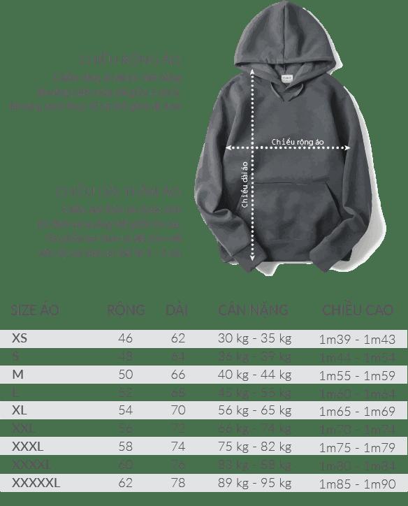 size ao hoodie - Giới thiệu sản phẩm áo thun Hoodie - Sweater đồng phục