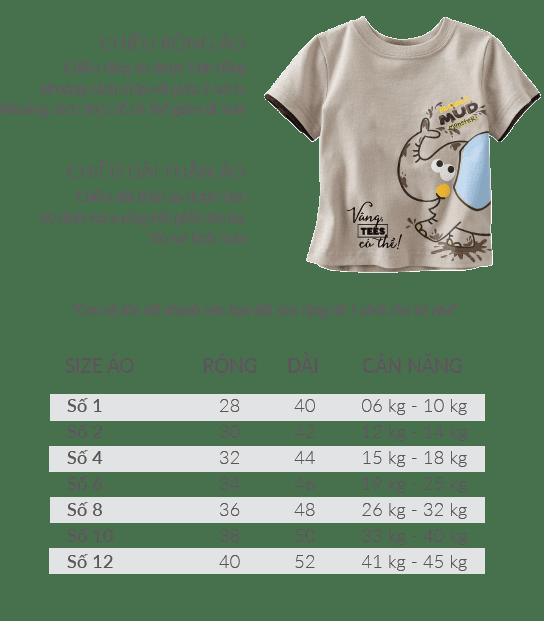 t shirt baby - Bảng size áo thun cổ tròn