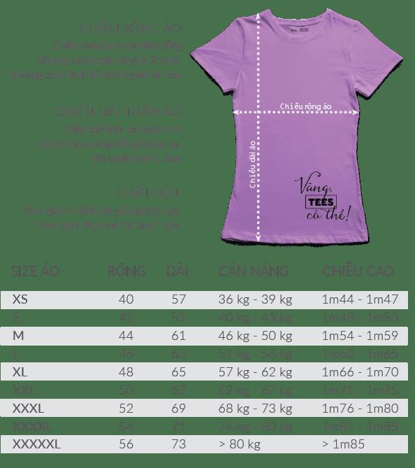 t shirt nu - Bảng size áo thun cổ tròn