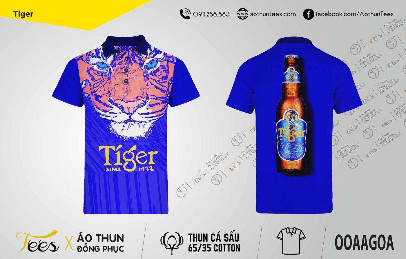 162. Tiger - Áo thun in hình con cọp bia Tiger