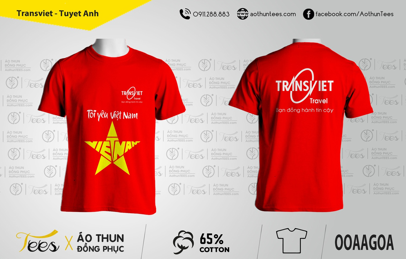 070. Transviet Tuyet Anh - Áo thun du lịch cổ động Việt Nam vô địch chung kết Seagame 2019 - Công ty Transviet