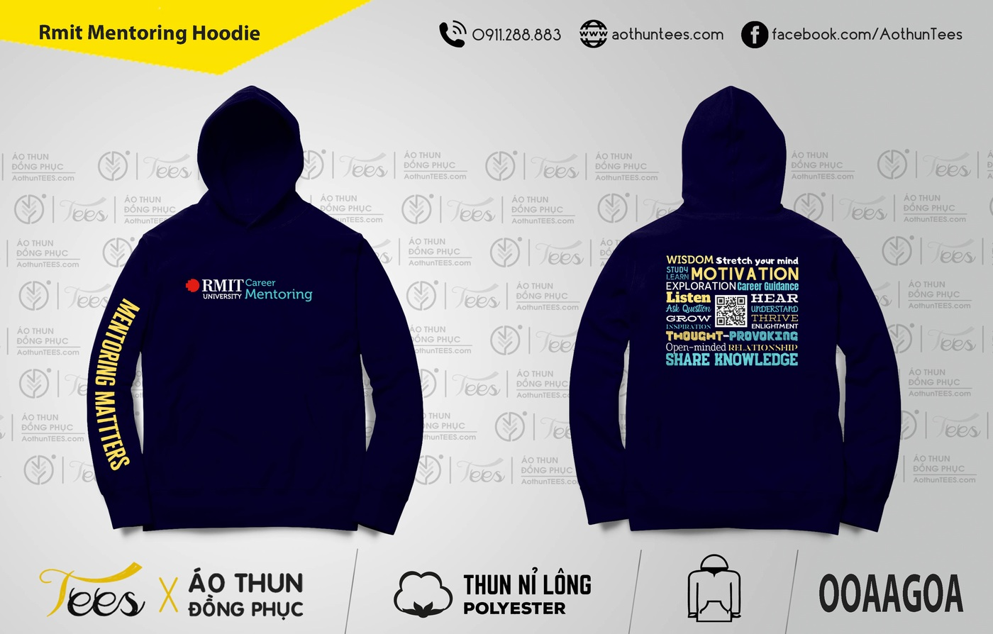 Rmit Mentoring Hoodie final - Áo hoodie đồng phục trường Đại học Quốc tế RMIT Việt Nam - Career Mentoring